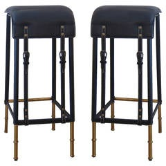 Pair of Black Stitched Leather Bar Stools by Jacques Adnet.