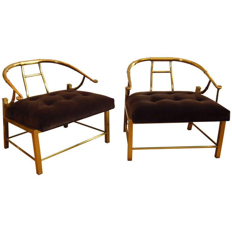Pair Of Brass Chairs By Mastercraft At 1stdibs