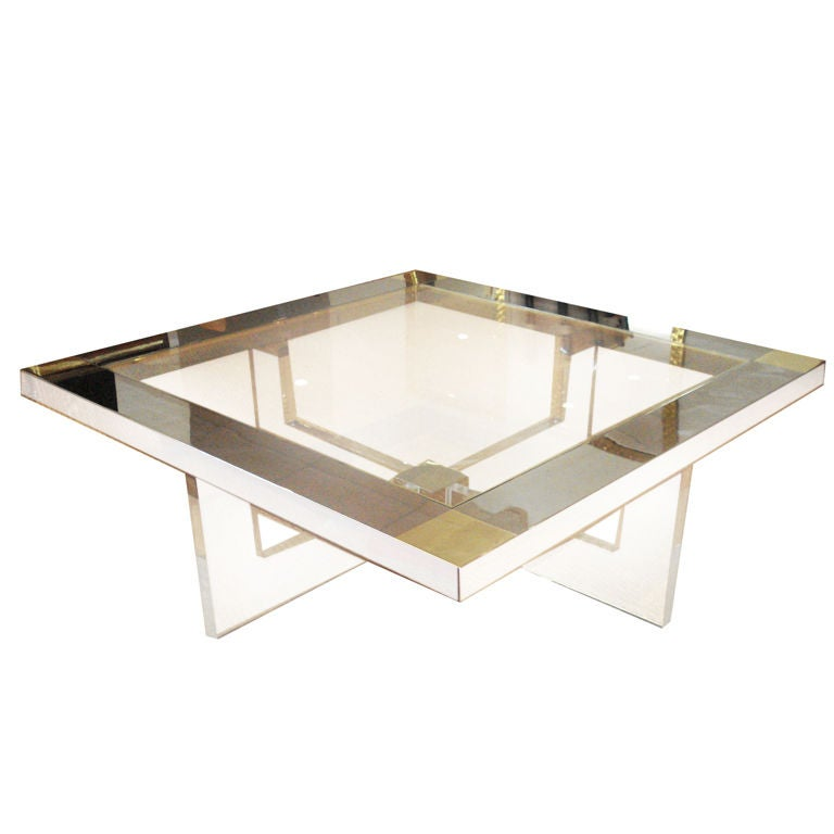 Lucite Chrome And Brass Coffee Table At 1stdibs