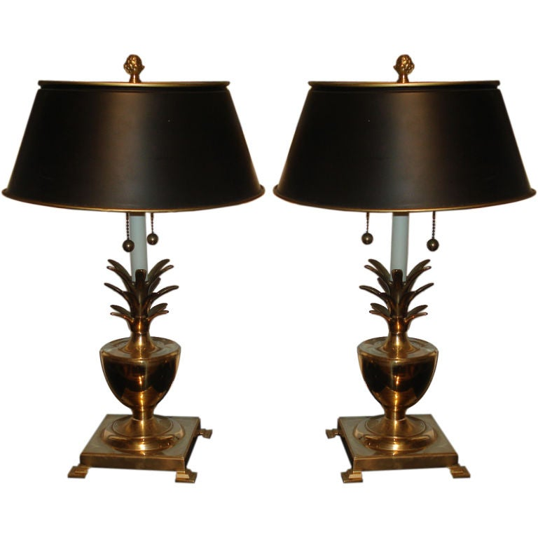 pair of brass pineapple lamps at 1stdibs. Black Bedroom Furniture Sets. Home Design Ideas
