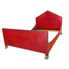 Empire Style Red Leather Bed.