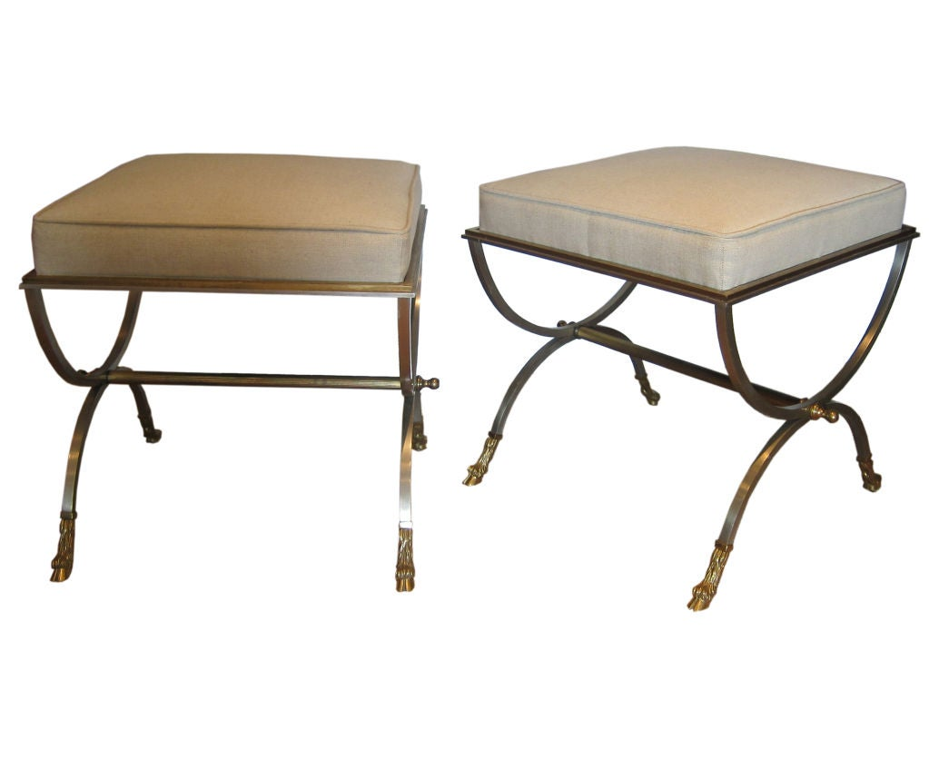 Pair Of Brushed Steel And Brass Stools At 1stdibs