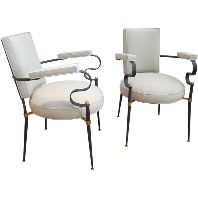 S french black iron arm chairs at stdibs