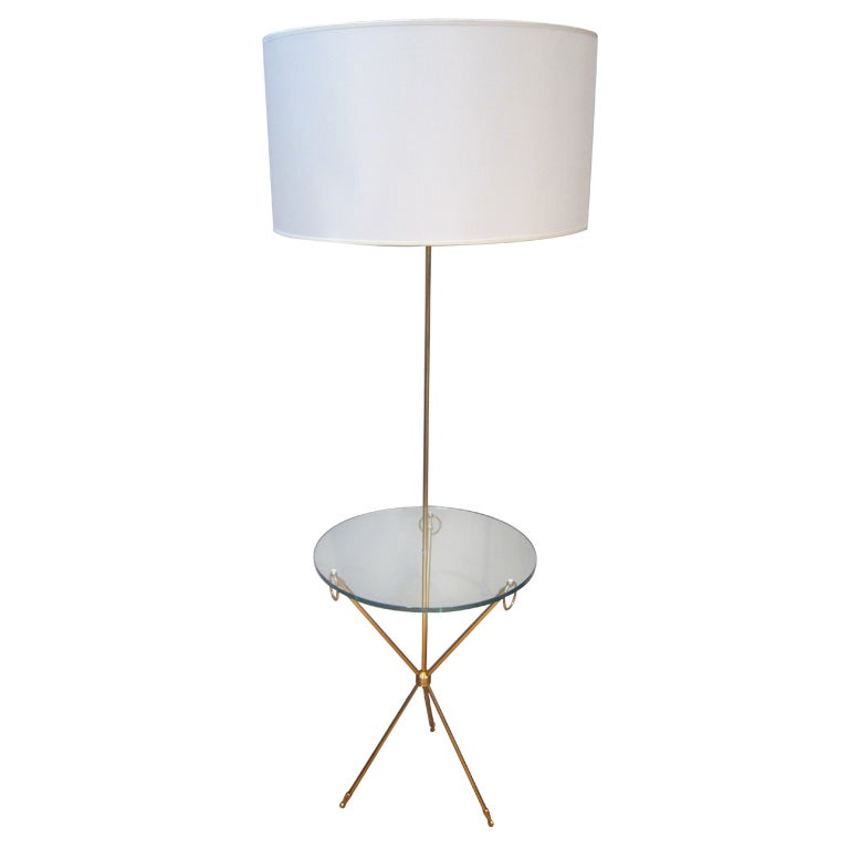 italian brass floor lamp glass table at 1stdibs. Black Bedroom Furniture Sets. Home Design Ideas