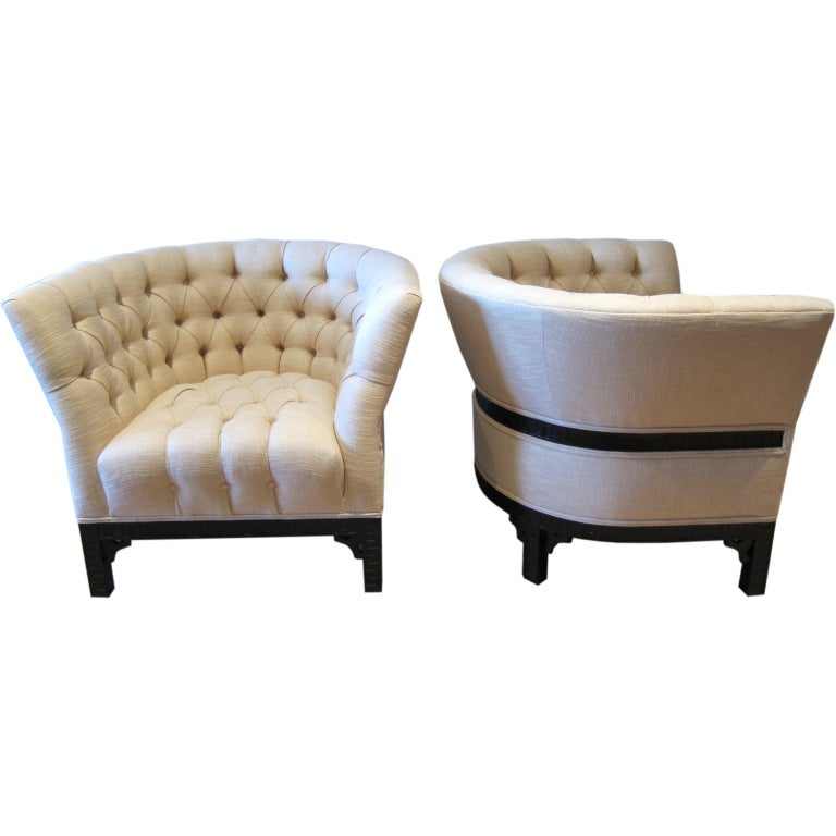 Pair of barrel back lounge chairs at 1stdibs