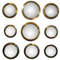 Group of Brass Porthole Convex Mirrors (set of 9 )