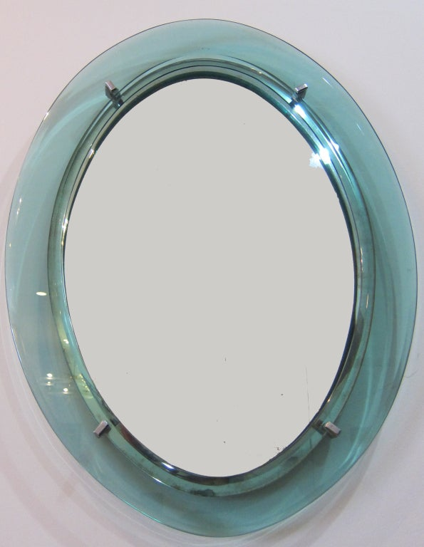 1960's Italian Oval Glass Mirror. image 2