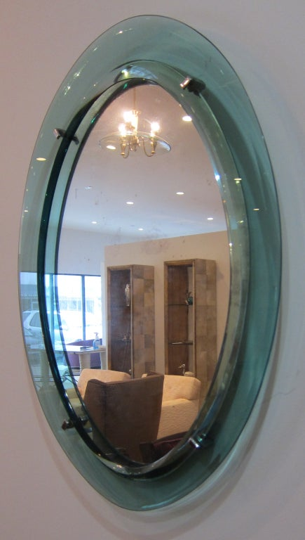 1960's Italian Oval Glass Mirror. image 3