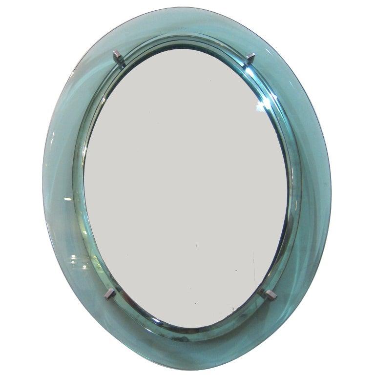 1960's Italian Oval Glass Mirror. 1