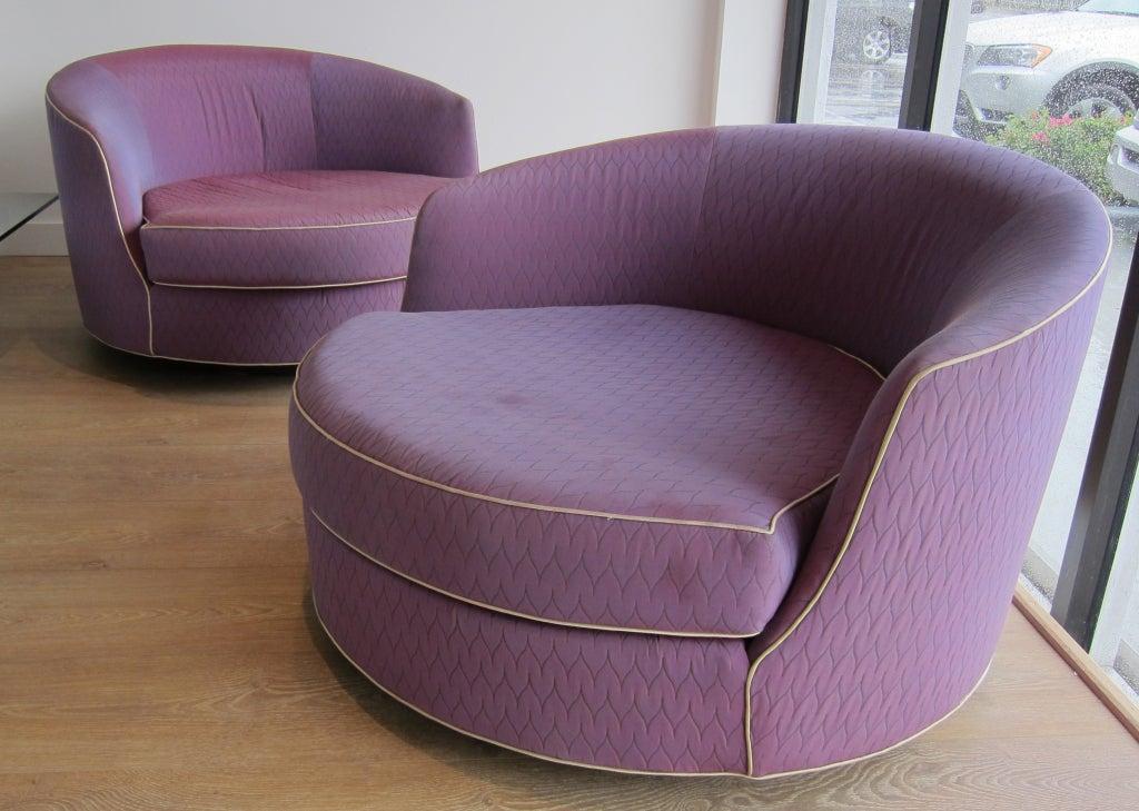 Rare Oversized Barrel Back Swivel Lounge Chairs. at 1stdibs