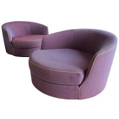Rare Oversized Barrel Back Swivel Lounge Chairs.