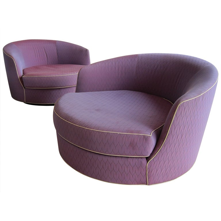 Rare Oversized Barrel Back Swivel Lounge Chairs at 1stdibs