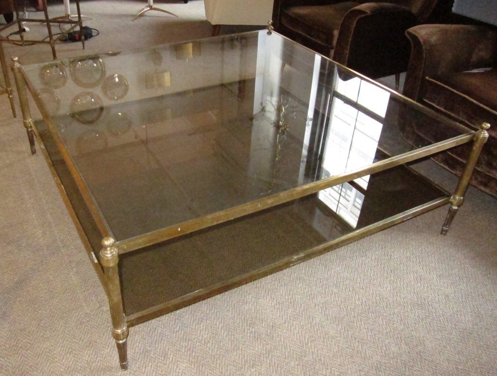 Oversized Two Tiers Brass Coffee Table at 1stdibs