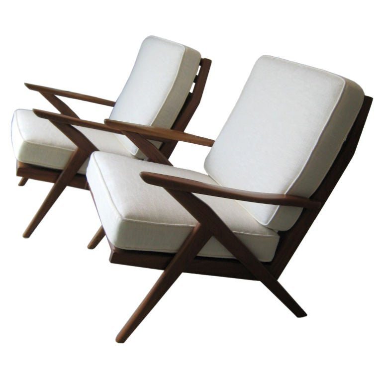Mid Century Danish Modern Z Lounge Chairs Denmark At 1stdibs