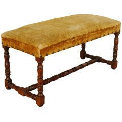 A 19th Century Italian Louis XIII Style Turned Walnut and Upholstered Bench