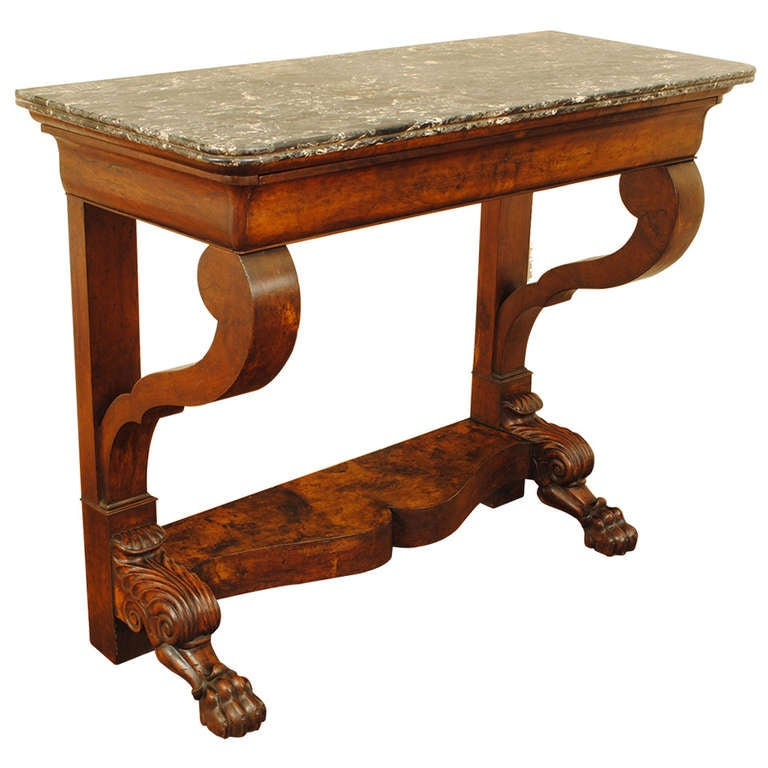 Incroyable French 19th Century Carved Walnut One Drawer Console Table With Marble Top  For Sale