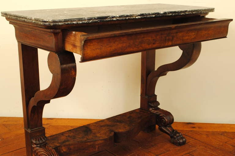 french 19th century carved walnut onedrawer console table with marble top 3