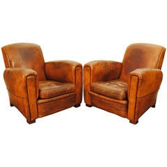 Near-Flawless Pair of French Art Deco Club Chairs