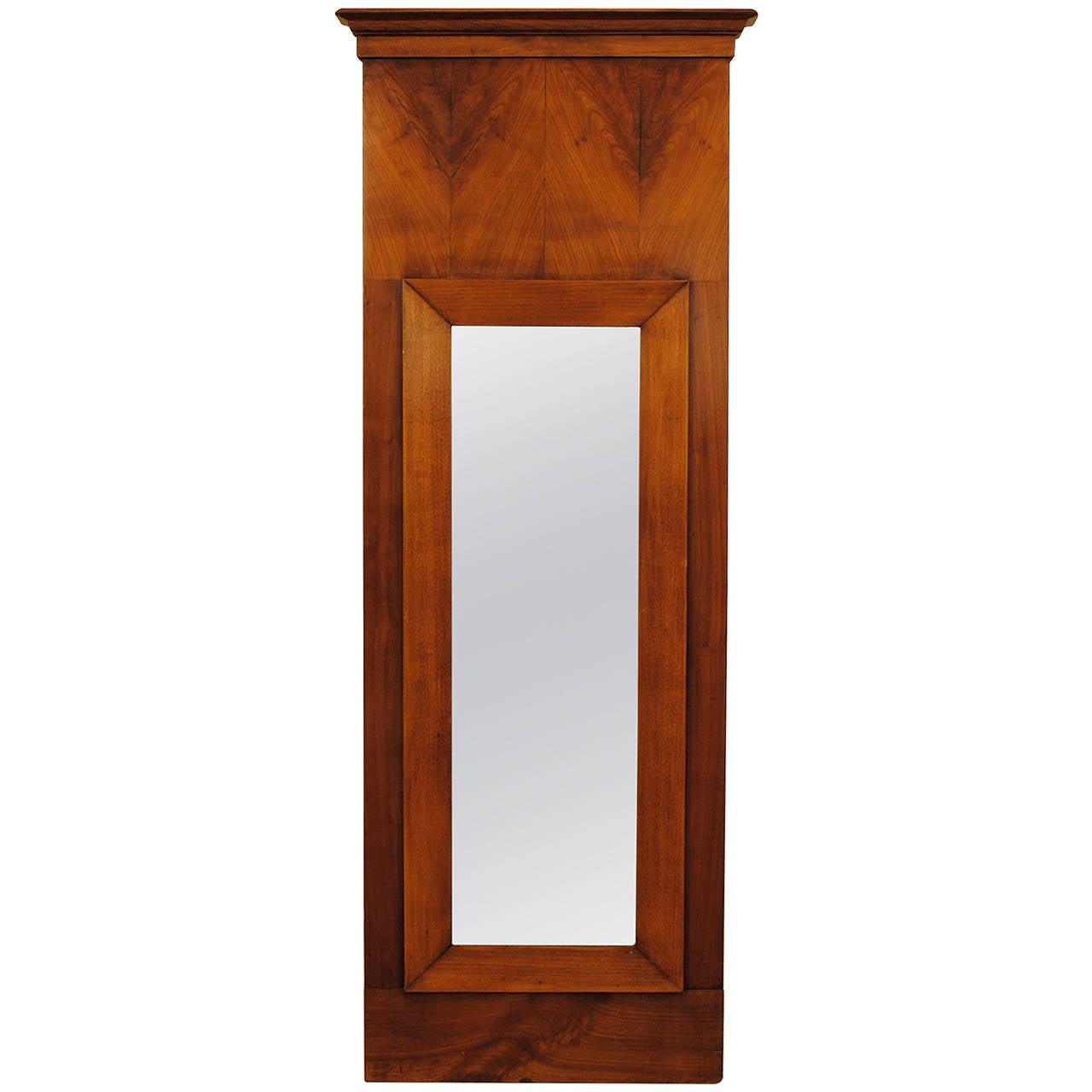 Biedermeier Cherrywood Veneered Slender Wall Mirror