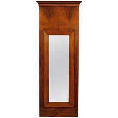 Biedermeier Cherrywood Veneered Slender Wall Mirror