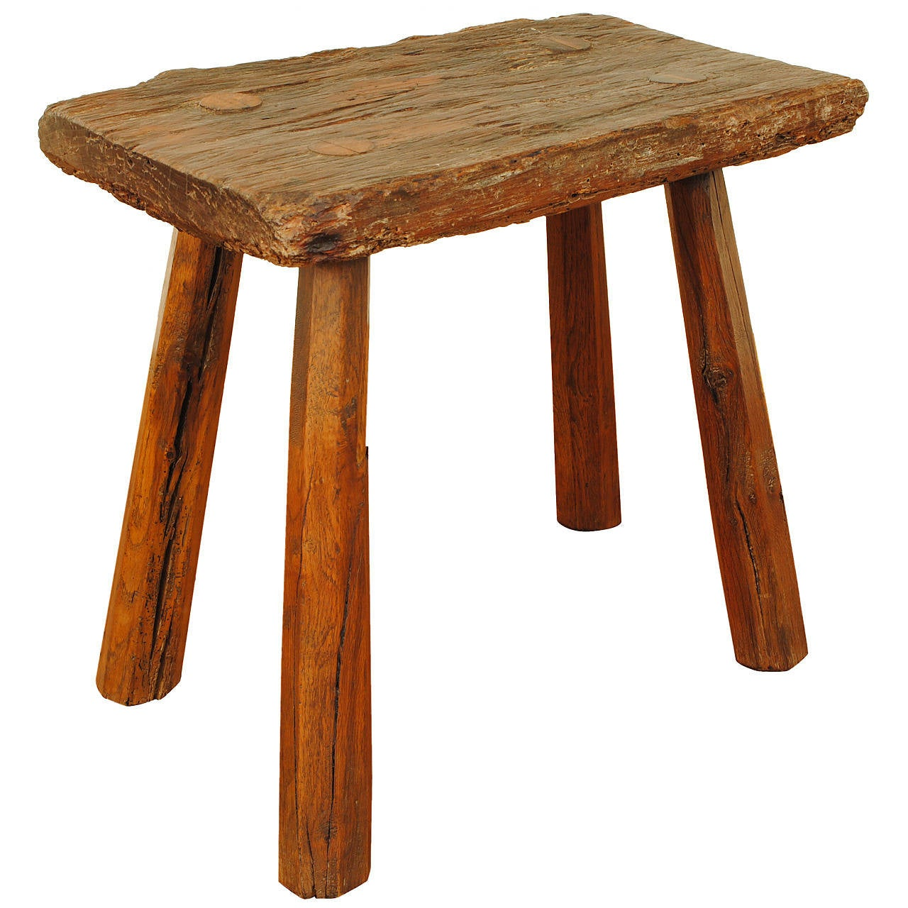 French Rustic Joint Stool With Legs Visible In Top At 1stdibs