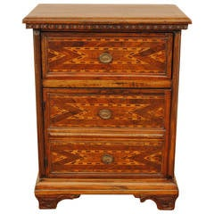 Italian Baroque Walnut and Inlaid One-Drawer and One-Door Side Cabinet