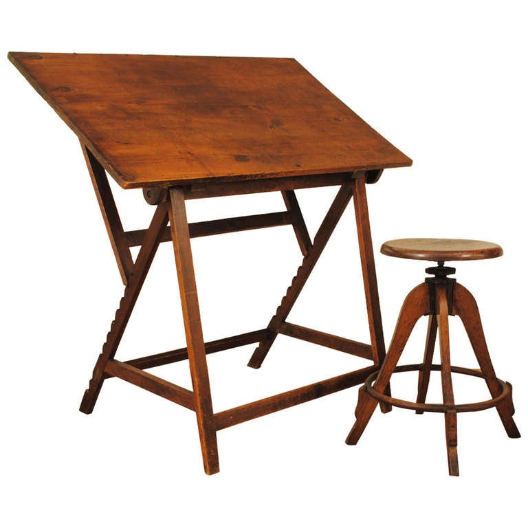 An Early 20th Century Spanish Drafting Table And Matching