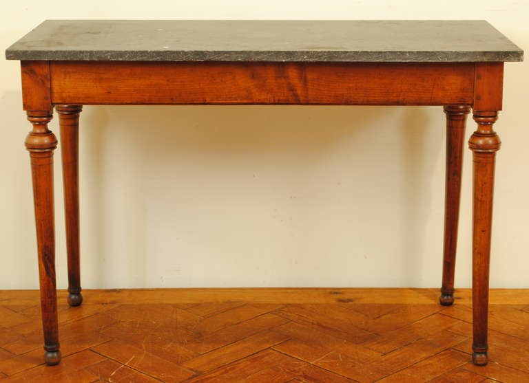 A French Late Neoclassical, 19th C. Cherrywood and Marble Console Table 2
