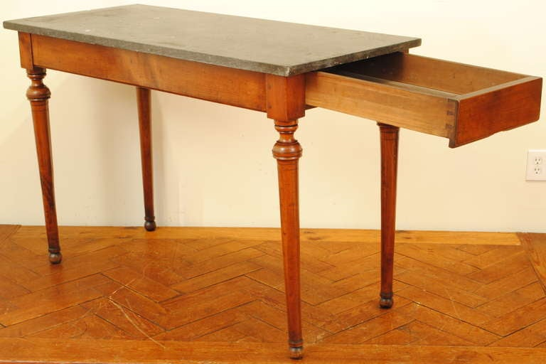 A French Late Neoclassical, 19th C. Cherrywood and Marble Console Table 3