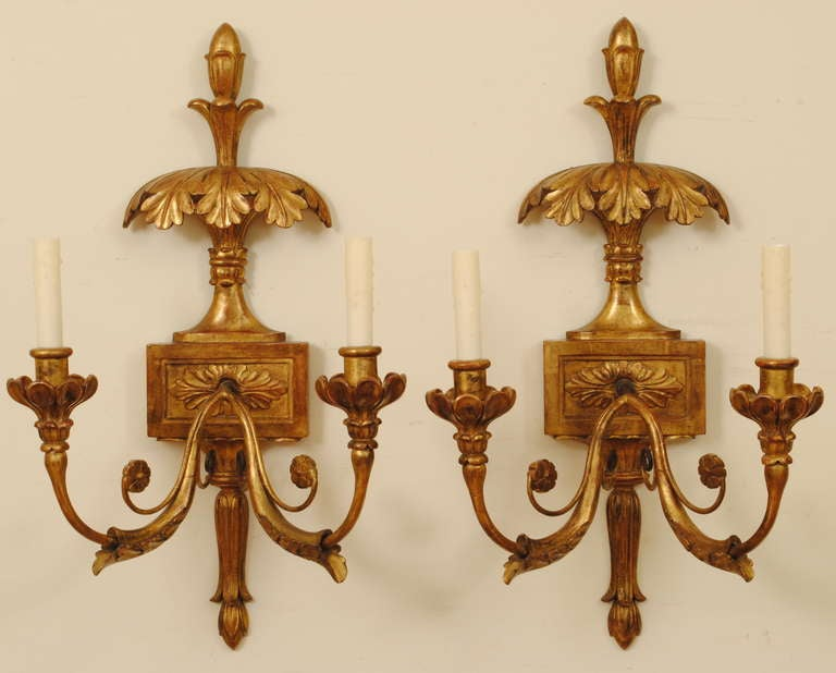 Italian Style Wall Sconces : A Pair of Beautifully Carved, Italian Neoclassical Style Giltwood Wall Sconces at 1stdibs