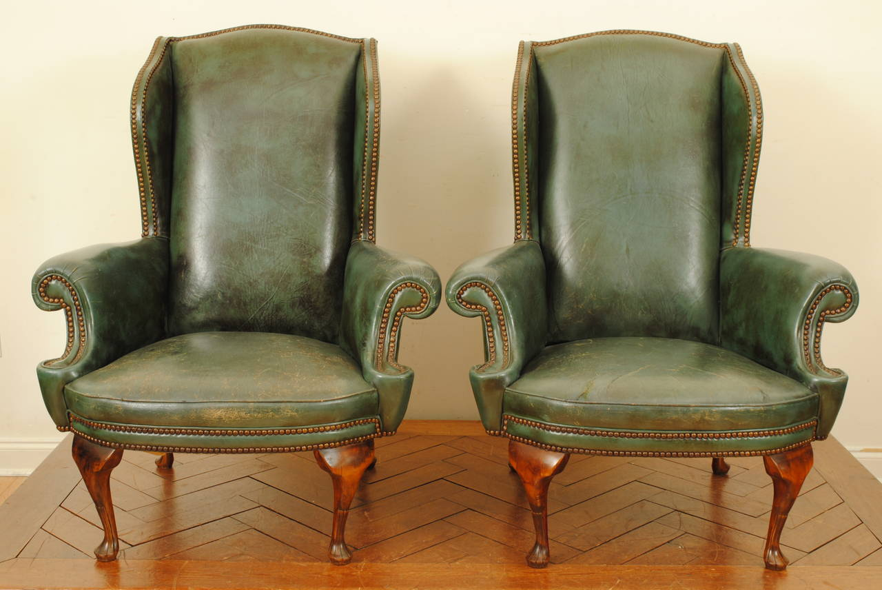 Pair of Italian Queen Anne Style Walnut and Leather Upholstered Wing Chairs  2Pair of Italian Queen Anne Style Walnut and Leather Upholstered  . Antique Queen Anne Upholstered Chairs. Home Design Ideas