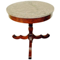 Italian Late Neoclassical Period Mahogany and Marble-Top Center Table