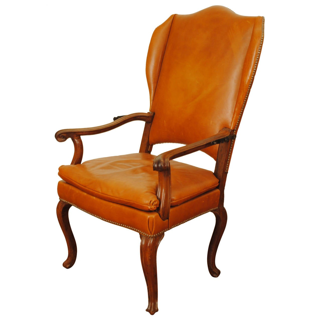Italian Rococo Walnut and Leather Upholstered Reclining