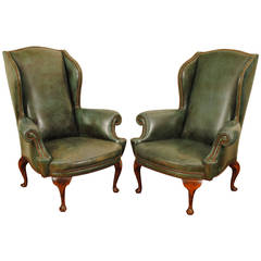 Pair of Italian Queen Anne Style Walnut and Leather Upholstered Wing Chairs