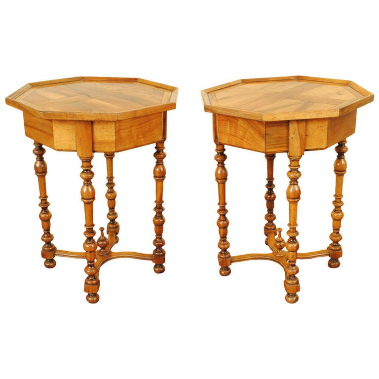 pair of octagonal occasional 1 drawer tables french louis. Black Bedroom Furniture Sets. Home Design Ideas