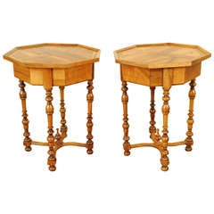 Pair of Octagonal Occasional 1-Drawer Tables, French Louis XIII Style
