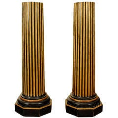 Pair of Ebonized and Gold Painted Fluted Columns, Louis XVI Period