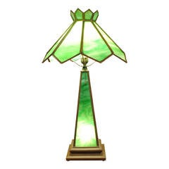 Leaded Glass and Brass Mission Style Table Lamp, Early 20th Century