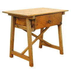 An Early 19th Century Spanish Pinewood One-Drawer Work Table