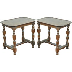 A Near Pair of  French LXIII Turned Walnut Low Tables