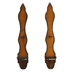 A Pair of 19th Century Carved Wood and Painted Candle Sconces