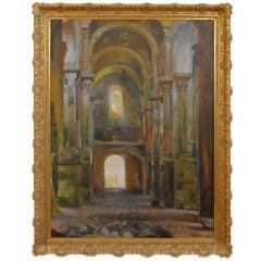 Large Oil on Canvas, Interior Sant Pere de Rode, J. Padilla