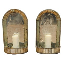 A Pair of American Mirrored Glass Art Deco 1-Light Wall Sconces
