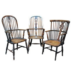 A Set of 3 18th Century Windsor Chairs