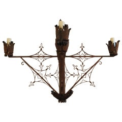 Large Italian, Wrought Iron Four-Light Chandelier, 19th Century