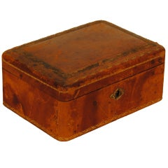 French Mid-19th Century Leather and Gilt Decorated Jewelry Box