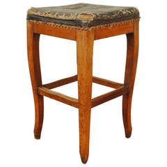 A Fench Louis XV Wooden and Black Leather Upholstered Stool