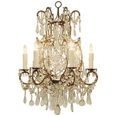 Italian, Lombardia, Heavily Glass Decorated Gilt Iron Six-Light Chandelier