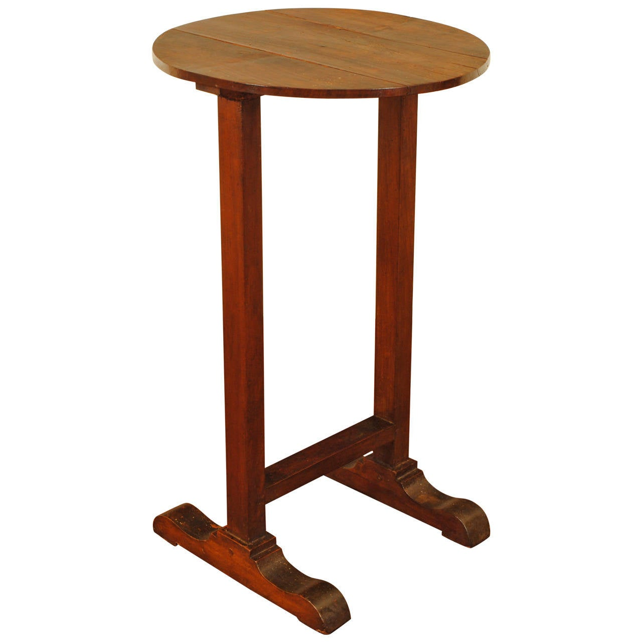 interesting french side table with trestle form feet mid