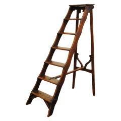 An Italian Early 18th Century Pinewood Folding Library Ladder